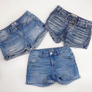 Girls lot of 3  denim shorts , justice, mudd, p.s.